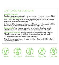 Sisu Zinc Lozenges medicinal ingredients panel