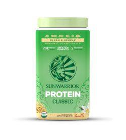 One green and yellow panel of Sunwarrior Protein Raw Vegan 750g vanilla flavour