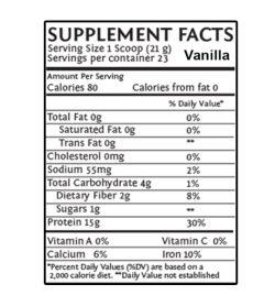 Sunwarrior Protein Raw Vegan 750g vanilla supplement fact panel