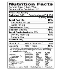 VEGA SPORT PROTEN bar nutrition facts panel