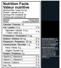 Nutrition fact and ingredients panel of Vega Sport Sugar Free Energizer Single Serve 3.2g Lemon Lime Serving Size 1 pack (3.4 g)