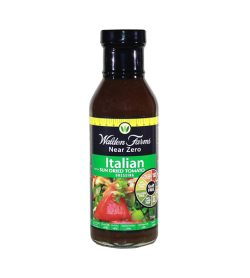 One brown and green bottle of Walden Farms Italian Dressing with Sun dried Tomato 355ml