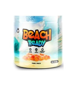 Part of white and blue bottle of Yummy Sports Beach Ready 30 servings Funky Peach flavour