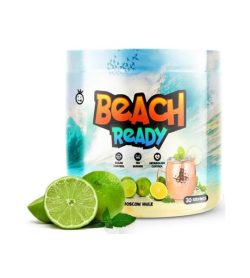 Part of blue and white bottle of Yummy Sports Beach Ready 30 servings Moscow Mule flavour
