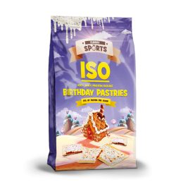 One purple and yellow bag of Yummy Sports ISO Protein Powder Birthday Pastries