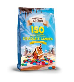 One blue and yellow bag of Yummy Sports ISO Protein Powder Chocolate Candies
