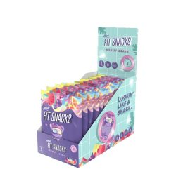 One blue and purple box of alani nu fit snacks gummy bears