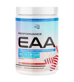 One white and blue container of Believe supplements performance eaa 30 servings cyclone pumpsicle flavour