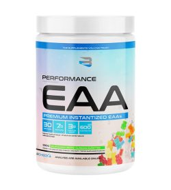 One white and blue bottle of Believe supplements performance eaa 30 servings sour gummy bears flavour