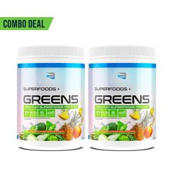 2 white blue and green containers of believe supplements superfoods plus greens combo