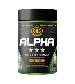 One black and green container of Advanced Genetics Alpha 90 cap MEN'S 3-IN-1-FORMULA