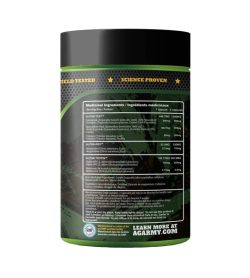 One black and green container of Advanced Genetics Alpha 90 cap Ingredients side