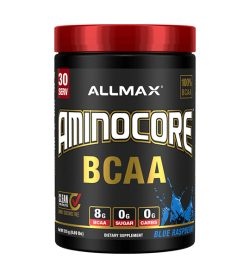 One black and red container of Allmax Aminocore 30Servings Blue Raspberry flavour