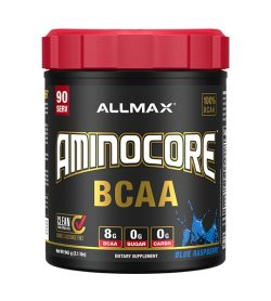 One black and red container of Allmax Aminocore 90 Servings Blue Raspberry flavour