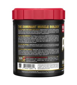 One black and red container Allmax Aminocore 90 Servings Blue Raspberry info side