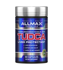 One blue and grey bottle of Allmax TUDCA 60 caps LIVER PROTECTANT DIETARY SUPPLEMENT
