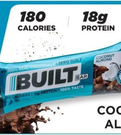A banner showing one pack of Built bar bar 56 g coconut almond flavour 18 g protein