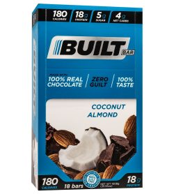 One blue box of Built bar bar 56 g coconut almond flavour 18 g protein