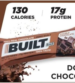 A banner showing one pack of Built bar bar 56 g double chocolate flavour 17 g protein