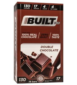 One brown box of Built bar bar 56 g double chocolate flavour 17 g protein