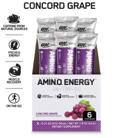 One white and purple box of OptimumNutrition Amino Energy 1Serving on the go concord grape flavour