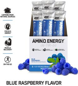 One white and blue box of OptimumNutrition Amino Energy 1serving Blue Raspberry flavour