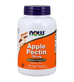 One white and orange bottle of NOW Apple Pectin 700mg 120caps Intestinal Support