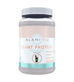 One white and cyan bottle of Alaninu Plant Protein Chocoate flavour