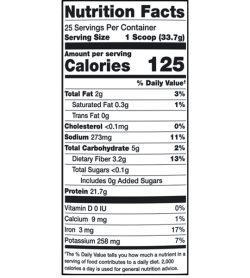 Nutrition fact panel of Alaninu Plant Protein Chocoate Serving Size 1 Scoop (33.7g)
