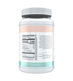 One white and cyan bottle of Alaninu Whey Protein 30Servings facts side