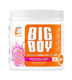One white and orange container of BallisticLabs Big Boy Muscle Swelling System Cream Soda Slushee flavour