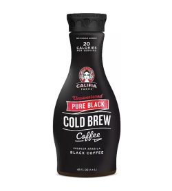 One black and red bottle of Califia Farms Pure Black Unsweetened Cold Brew Coffee flavour 1.4L Jug