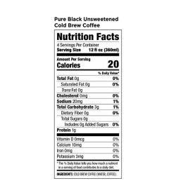 Nutrition fact panel of Califia Farms Pure Black Unsweetened Cold Brew Coffee 1.4L Jug Serving Size 12 fl oz (360ml)