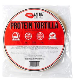 One white and red package of EatMe Guilt Free Protein Tortilla 328g 9g PROTEIN 2.5g HIGH FIBER 11g NET CARBS