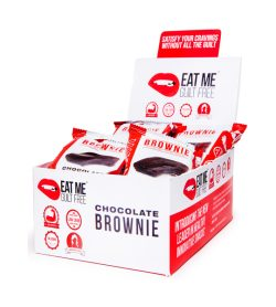 One white and red box of EatMe Guilt Free Protein Tuxedo Brownie Box Chocolate