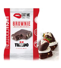 One white and red pouch of EatMe Guilt Free Protein Tuxedo Brownie Box Tuxedo 1bar
