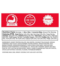 EatMe Guilt Free Protein Tuxedo Brownie Box facts panel serving size 1 brownie (55 g)