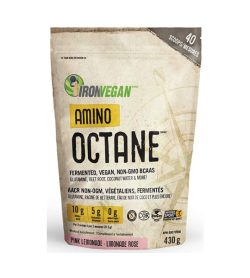 One brown pouch of Iron Vegan Amino Octane 430g PINK LEMONADE flavour