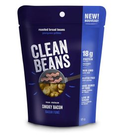One blue pouch of Nutraphase Clean Beans 85g smoky becon flavour low in sugar