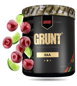 One black and olive green container of RedCon1 Grunt EAAs 30Servings cherry lime flavour