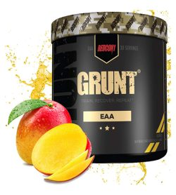 One black and olive green container of RedCon1 Grunt EAAs 30 Servings mango flavour