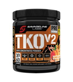 One orange and black container of SavageLine TKO V2 KING LOUIS PEACH flavour