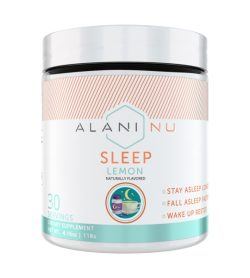 One white and cyan container of AlaniNu Sleep Powder Lemon 30 Servings NET WT. 4.16oz 118G
