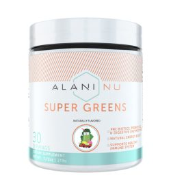 One white and cyan container of Alaninu Super Greens 30 servings