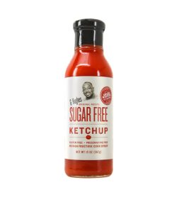 One white and red bottle of GHughes Sugar Free Ketchup NET WT 13 OZ (367g)