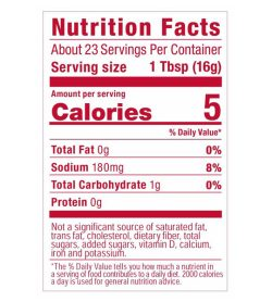 Nutrition fact panel of GHughes Sugar Free Ketchup 367g Serving size 1 Tbsp (16g) About 23 Servings Per Container