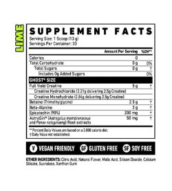 Nutrition fact and ingredients panel of Ghost Lean Muscle Builder 30 serv Lime flavour Serving Size: 1 Scoop (13 g)