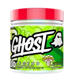 One green and red container of Ghost Legend Pre Workout 30Servings Warheads Sour Green apple flavour