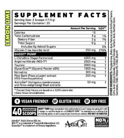 Supplement facts panel of Ghost Pump Stimulant Free Pre Workout 20Serv Lemon Lime flavour Serving Size: 2 Scoops (17.5 g)