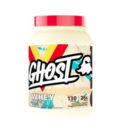 One light brown and red container of Ghost Whey Protein 949g Cereal Milk flavour